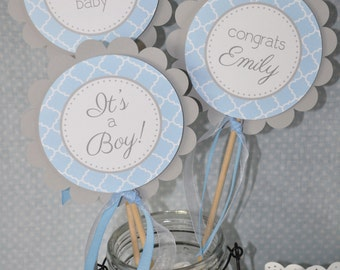 Boys Baby Shower Centerpiece Sticks - It's A Boy Baby Shower Decorations - Blue and Gray - Boy Baby Shower Decorations - Set of 3