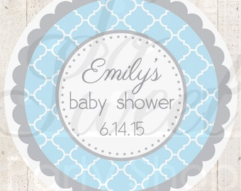 Baby Shower Favor Sticker Labels - Blue and Gray Baby Shower - Personalized Baby Shower Favors - Boy Baby Shower Decorations - Set of 24