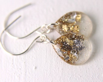 tear drop earrings with silver and gold glitter and flakes, gold leaf earrings, teardrop earrings, gold earrings, gold drop earrings