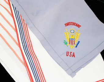 3 Vintage Patriotic Handkerchiefs, USA Sweetheart, Red White and Blue and Red Stripe - M