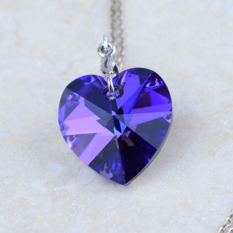 blue swarovski crystal heart pendant swarovski necklace and. Black Bedroom Furniture Sets. Home Design Ideas
