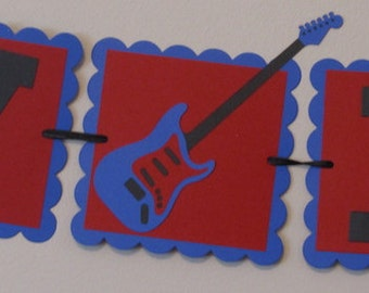 Red and Blue Guitar Happy Birthday Banner