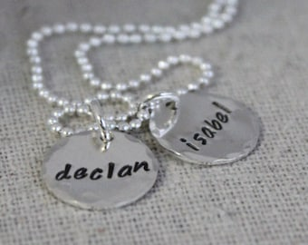 necklace for mom with two kids, two names necklace, 2 names, personalized mothers necklace, hand stamped name discs, stamped names