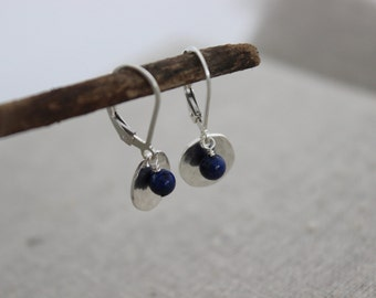 tiny silver disc and lapis earrings | sterling silver & gemstone | blue stone dangle earrings