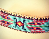 Native American Wetland Inspired Beaded Barrette Hair Clip on Brown Leather, in Turquoise