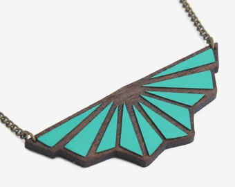 Origami necklace Art Deco Teal