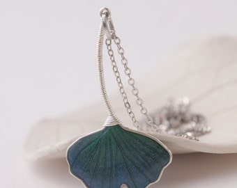 Necklace - Green Ginkgo Leaf