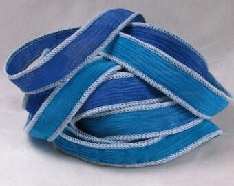Hand Dyed Silk Ribbons - Crinkle Silk Jewelry Bracelet Fairy Ribbon Green - Quintessence - Capri Cove