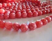 RHODOCHROSITE Beads in Dark Coral Pink, 10mm, 1 Strand, Approx 35 Beads, Dyed, Round Gemstones, GB268