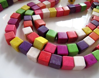 10mm Ceramic Cube Beads in an Antiqued Color Mix, 1 Strand 15 Inches, 40 Beads, Red, Green, Purple, Yellow, Pink, Orange