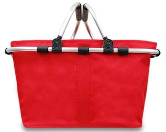 Open Collapsible Market Tote in Red Personalized Free Great for Beach, Pool, Wedding gifts, Great for Tennis