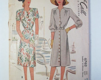 "Antique McCall 1940's Dress Pattern #6762 - size 40"" Bust"