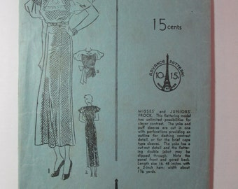 "Antique 1930's Advance Dress Pattern #1011 - size 32"" Bust"
