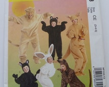 Easy to Sew Childs Animal Costume Pattern Sizes 3 4 5 UNCUT McCalls MP308 Kids Children Unisex Bunny Bear Cat Lion Kangaroo
