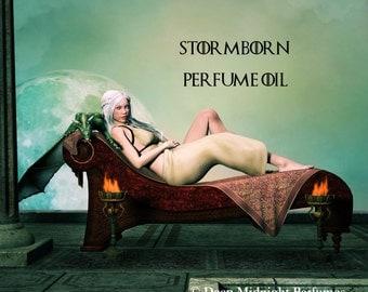 STORMBORN Perfume Oil - Game of Thrones inspired - dragons blood, oud, patchouli, jasmine, desert earth, cardamom, moss - Daenerys Targaryen