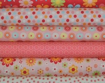 Just Dreamy 2 Red 6 Fat Quarters Bundle by My Mind's Eye for Riley Blake, 1 1/2 yards total