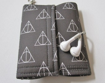 Nerd Herder gadget wallet in Deathly Hallows for iPhone 6, Android, Samsung Galaxy S5, digital camera, smartphone, guitar picks