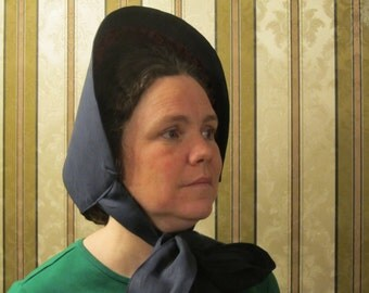"""Spoon Bonnet - Navy blue Linen with burgundy velvet trim - Stiffened with buckram and wire - 47"""" long ties - Civil War"""