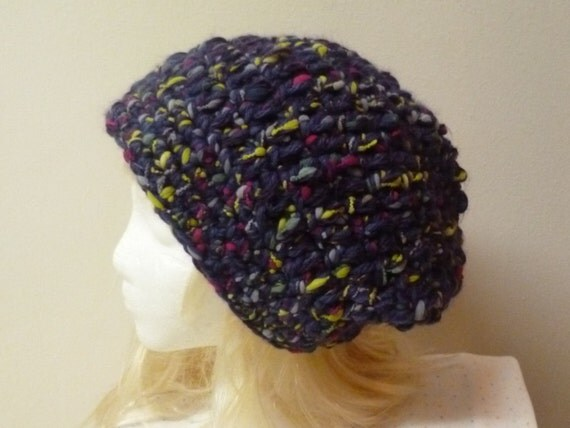Free Crochet Pattern Multi Colored Hat : Slouchy Crochet Hat Purple Multi Colored Beanie Large Extra