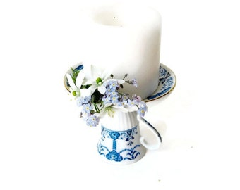 Candlestick from Vintage Demitasse 1970s Blue and White Abstract Floral/ Tea Cup Candle