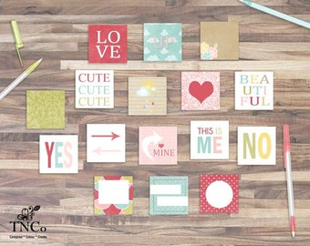 Printable valentines digital collage sheet. flash cards 3 x 3, 2 x 2. instant download scrapbooking squares for commercial use,
