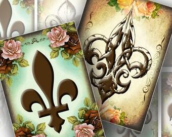 Vintage inspired royal fleur de lys printable gift tags printable collage sheet instant download digital file (141) BUY 3 GET 1 FREE