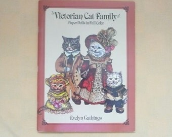 Dover Publications Evelyn Gaithings Victorian Cat Family Paper Dolls Book