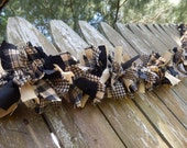 Rag Garland, Black and Tan Homespun Fabric Garland, Farmhouse Decor, Primitive Country Swag, Handmade in NJ