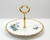 Royal Ardalt China Blue Flowers 1 Tier Tidbit Cake Plate Jewelry Stand Candy Plate Wedding Plate