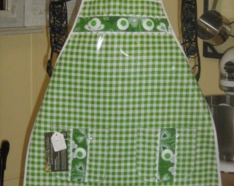 Child's Gingham Check Oil Cloth St. Patrick's Day Chef Style Apron