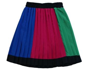 90s colorblock pleated mini skater skirt black/blue/green/pink // sz s - m