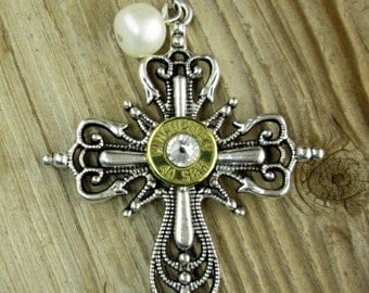 Bullet Necklace / Winchester Antique Silver & Brass Bullet Elegant Cross Pearl Necklace WIN-40B-ESCPN / Pearl Necklace / Cross Necklace