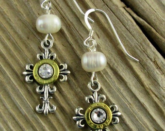 Bullet Earrings / Elegant Antique Silver Cross Pearl Dangle Bullet Earrings ANY-25B-EBCPE / Cross Earrings / Pearl Earrings / Custom