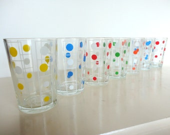 Set of Vintage Colorful Tumbler Glasses with Circles or Polka Dots in Red, Orange, Green, Blue, Yellow