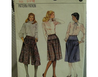 80s Culotte Pattern, Skirt, Fitted Yoke, Gathers, Contour Waist, Vogue No. 8136 Size 6 (Waist 23' 58cm)