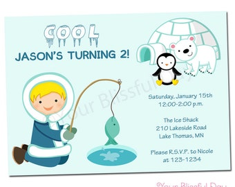 PRINTABLE Arctic Boy Party Invitations (Character of your choice) #704