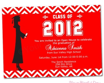 PRINTABLE Female Graduation Party Invitations (Color of your choice) #302