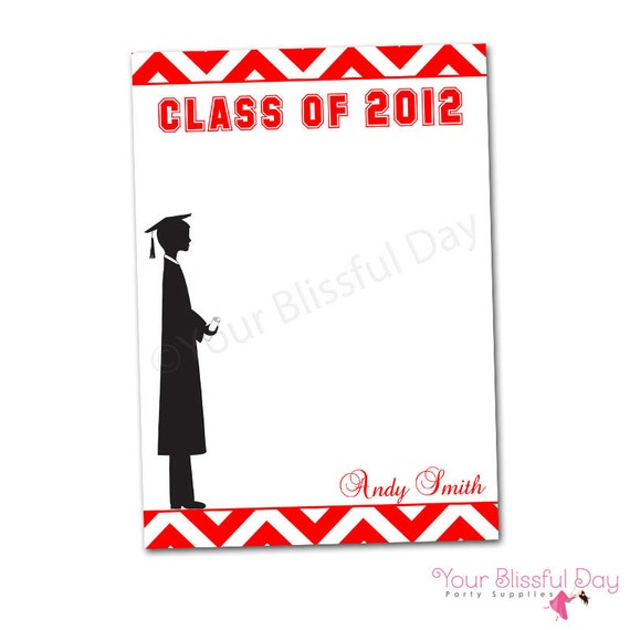 PRINTABLE Personalized Male Graduation Party Thank You Cards (Color of your choice) #302