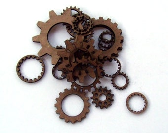 Chipboard Steampunk Gears and Cogs for scrapbooking, card making, altered art, mixed media, tags, canvases and more.