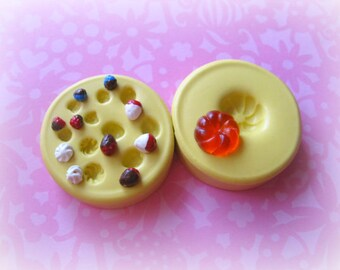 Miniature Cake Silicone Mold TINY Sweets Dollhouse Charm DIY Cabochon Resin Polymer Clay Fruit Strawberry Whipped Topping Molds