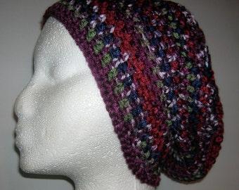 Slouchy Hat Mandala Design Crochet Mandala Hat Slouch Beanie Dread Beanie Red Purple Green Navy Blue Teen/Ladies SMALL Only One Left