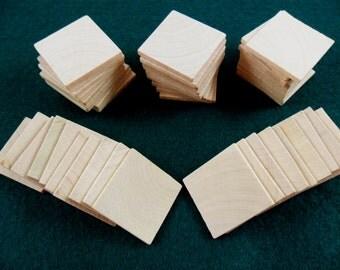 "50 Wood Squares 1 1/4"" x 1/8"" Unfinished Wood Square Tile Cutouts Pendant Magnet"