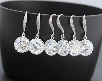 10 pairs of round earring 10 zirconia earring bridesmaid earring drop earring