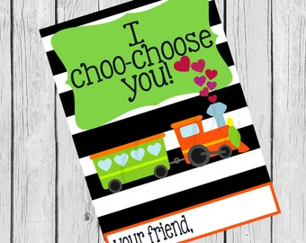I Choo Choose You Black and White Striped Train Printable Valentine Card- Instant Download