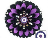 Hawkeye Black and Purple Penny Blossom Rhinestone Flower Barrette