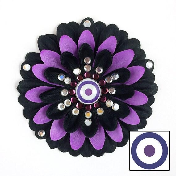 Hawkeye Black and Purple Penny Blossom Rhinestone Flower Barrette