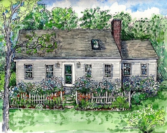 House Portraits in Pen&Ink and Watercolor, choice of sizes, hand drawn and painted from your photos,Original Custom Portrait of your Home