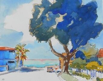 Original Painting, Watercolor and Ink, Landscape, California Painting, Tree Art, Ocean, Corona del Mar