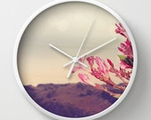 Art Wall Clock Flowers in Paradise 3 fine art Modern Landscape photography home decor pink tan gray grey blue brown floral printed
