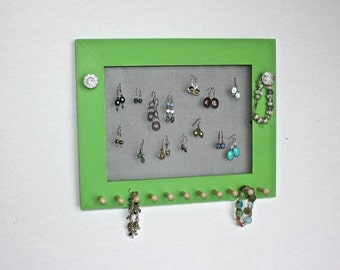 Jewelry Organizer Earring Holder Display, Wall Mounted Necklace Hanger.